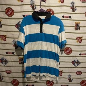 Men's Lululemon Striped Blue White Polo Shirt Sz L